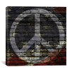iCanvas Peace Sign, USA Flag, Brick Wall Graphic Art on Canvas