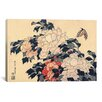iCanvas 'Peonies and Butterfly' by Katsushika Hokusai Painting Print on Canvas