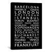iCanvas 'World CitiesBus Roll II' by Michael Tompsett Textual Art on Canvas