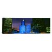 iCanvas Panoramic Wrigley Building Blue Lights, Chicago, Illinois Photographic Print on Canvas