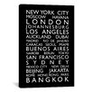 iCanvas 'World CitiesBus Roll' by Michael Tompsett Textual Art on Canvas