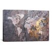 iCanvas World Map on Stone Background by Michael Tompsett Graphic Art on Canvas