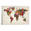 iCanvas 'World Map Hearts II' by Michael Tompsett Graphic Art on Canvas
