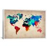 iCanvas Naxart 'World Watercolor Map I' Painting Print on Canvas