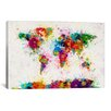 iCanvas 'World Map Paint Drops' by Michael Tompsett Painting Print on Wrapped Canvas