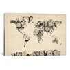 iCanvas 'Map of the World Map fromOld Clocks' by Michael Tompsett Graphic Art on Canvas