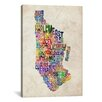 iCanvas 'Manhattan New York Typographic Map' by Michael Tompsett Textual Art on Canvas
