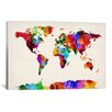 iCanvas 'Map of The World (Abstract Painting) II' by Michael Tompsett Graphic Art on Canvas