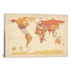 iCanvas 'Map of The World VII' by Michael Tompsett Graphic Art on Canvas