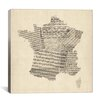 iCanvas 'Map of France Old Sheet Music' by Michael Thompsett Graphic Art on Canvas