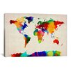 iCanvas 'Map of The World IV' by Michael Tompsett Painting Print on Canvas