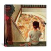 iCanvas 'Little Girl Looking Downstairs at Christmas Part' by Norman Rockwell Painting Print on Canvas