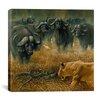 "iCanvas ""Lioness and Cape Buffalos"" Canvas Wall Art by Harro Maass"