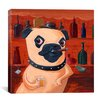 iCanvas 'Pug at Bar' by Brian Rubenacker Graphic Art on Canvas