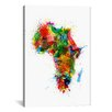 iCanvas 'Paint Splashes Map of Africa' by Michael Tompsett Painting Print on Canvas