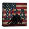 iCanvas Raising the Flag on Iwo Jima, USA Flag, Wood Boards Graphic Art on Canvas