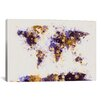 iCanvas 'Paint Splashes World Map' by Michael Tompsett Painting Print on Canvas