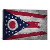 iCanvas Flags Ohio Wood Planks with Splatters Graphic Art on Canvas
