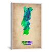 iCanvas 'Portugal Watercolor Map' by Naxart Graphic Art on Canvas