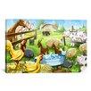 iCanvas Kids Children Farm Animals Cartoon Canvas Wall Art