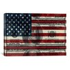 iCanvas Flag One Hundred Dollar Bill, USA Graphic Art on Canvas in Blue and Red