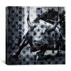 iCanvas Flags New York - Wall Street Charging Bull, Stars Graphic Art on Canvas in Blue
