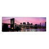 iCanvas Brooklyn Bridge Across The East River at Dusk, Manhattan, New York Photographic Print on Canvas in Pink