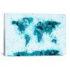 """iCanvas """"World Map Splashes"""" by Michael Tompsett Painting Print on Canvas in Blue"""