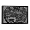 iCanvas Antique Map of the Americas (1598) by Abraham Ortelius Graphic Art on Canvas in Black