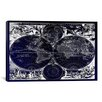 iCanvas Antique Maps Nova Totius Terrarum Orbis Tabula (1684) by J Bormeester Graphic Art on Canvas in Blue