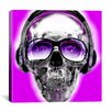 iCanvas Skull Sun Glasses by Luz Graphics Graphic Art on Canvas in Pink