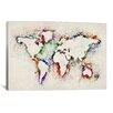 iCanvas Map Splashes by Michael Tompsett Painting Print on Canvas in Multi-color