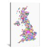 iCanvas Great Britain UK City Map by Michael Tompsett Textual Art on Canvas in White