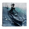 iCanvas Flags Vintage WW2 U.S. Battleships at Sea Photographic Print on Canvas in Blue
