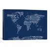iCanvas World Map Sheet Music by Michael Tompsett Graphic Art on Canvas in Blue
