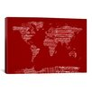iCanvas World Map Sheet Music by Michael Tompsett Textual Art on Canvas in Red
