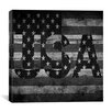 iCanvas American Flag, Stars Wood Boards Graphic Art on Canvas in Black/White