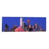 iCanvas Panoramic Texas, Dallas, Panoramic View of an Urban Skyline at Night Photographic Print on Canvas