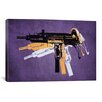 iCanvas 'Uzi Sub Machine Gunon Purple' by Michael Tompsett Graphic Art on Canvas