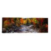 iCanvas Panoramic Panoramic Stream with Trees in a Forest in Autumn, Nova Scotia, Canada Photographic Print on Canvas