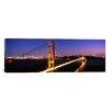 iCanvas Panoramic Suspension Bridge Lit up at Dusk, Golden Gate Bridge, San Francisco, California Photographic Print on Wrapped Canvas