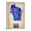 """iCanvas """"Wisconsin Watercolor Map"""" Canvas Wall Art by Naxart"""