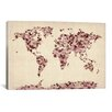 iCanvas 'Vintage Hearts World Map' by Michael Tompsett Graphic Art on Canvas