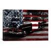 iCanvas Vintage Polics Cops Car, American Flag Graphic Art on Canvas