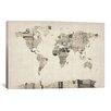 iCanvas 'Vintage Postcard World Map' by Michael Tompsett Graphic Art on Canvas