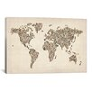 iCanvas 'Women's Shoes (Boots) World Map' by Michael Thompsett Graphic Art on Wrapped Canvas