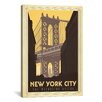 iCanvas 'The Manhattan Bridge - New York City, New York' by Anderson Design Group Vintage Advertisement on Wrapped Canvas