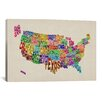 "iCanvas ""(States) Typographic Map VI"" by Michael Tompsett Graphic Art on Wrapped Canvas"