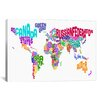 iCanvas 'Typographic Text World Map VI' by Michael Thompsett Graphic Art on Canvas