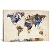 """iCanvas """"Urban Watercolor World Map V"""" by Michael Tompsett Painting Print on Wrapped Canvas"""